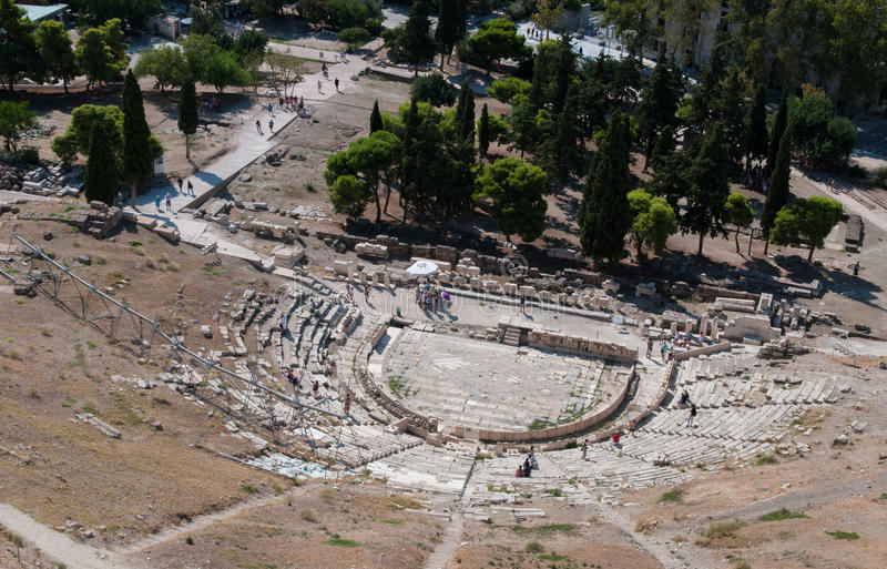 Diosysus,上城小山雅典剧院  库存照片