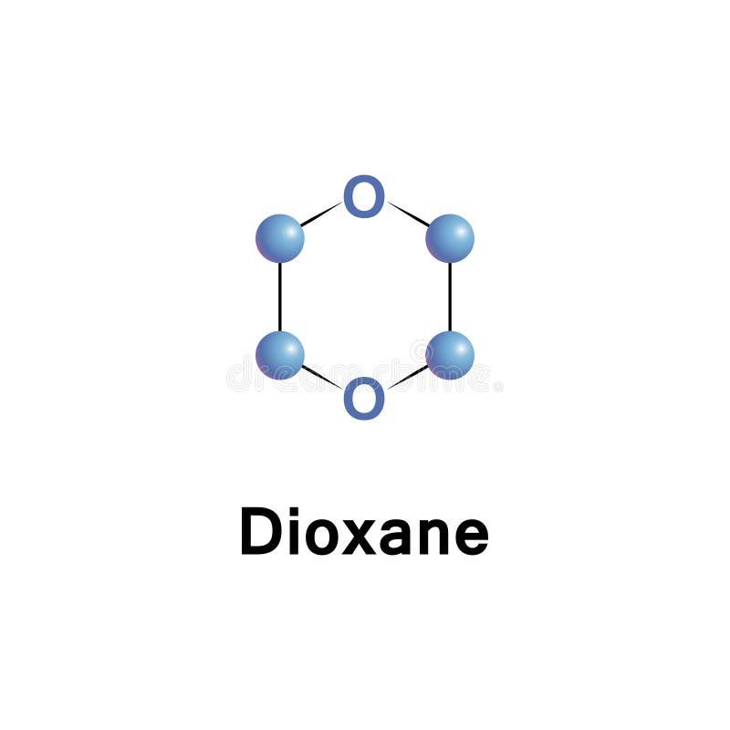 Dioxan ist ein heterozyklisches organisches stock abbildung