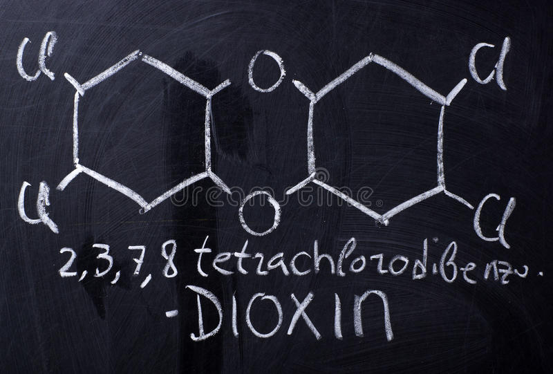 Dioxin, the most toxic environment pollutant stock photos