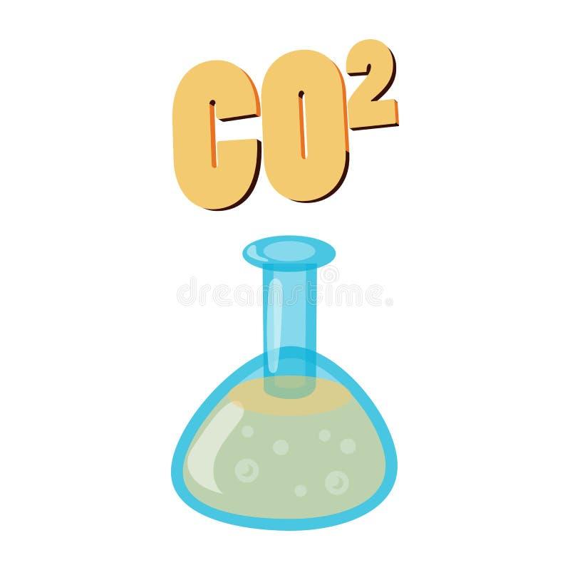 Dioxyde de carbone dans le flacon d'essai, icône de CO2 illustration stock