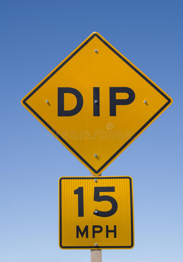 Dip Road Sign stock photos