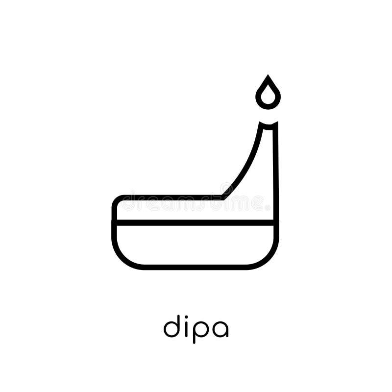 Dipa symbol Moderiktig modern plan linjär vektorDipa symbol på vitt b royaltyfri illustrationer