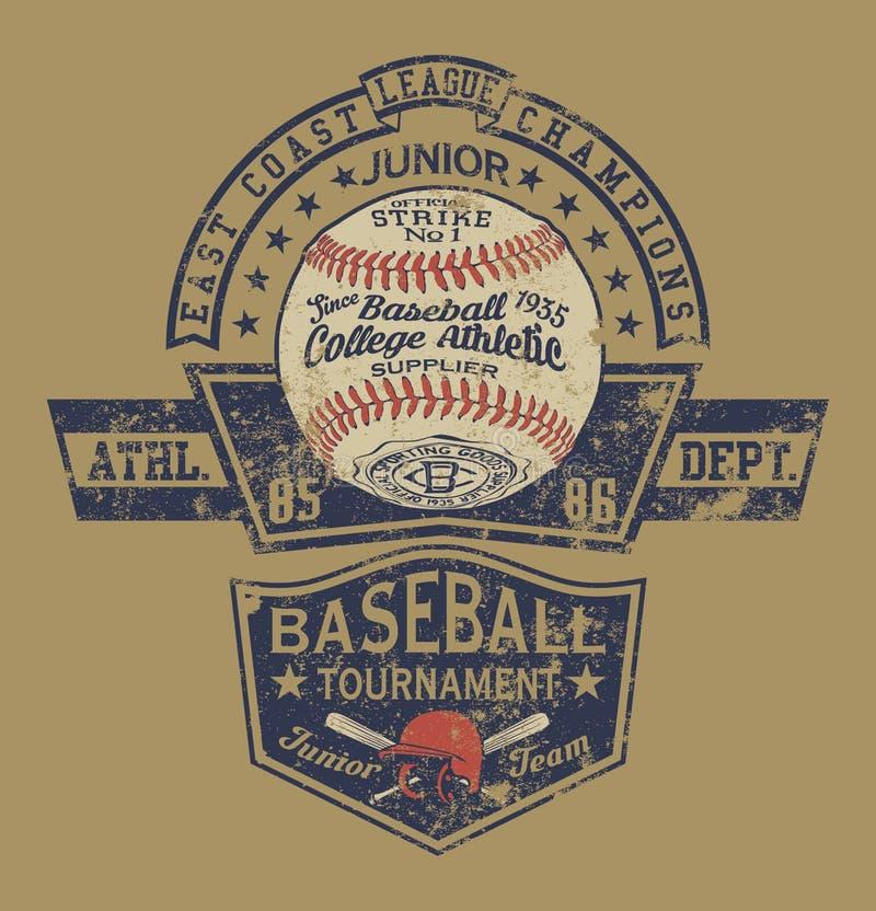 Dipartimento atletico di baseball dell'istituto universitario d'annata del campione royalty illustrazione gratis