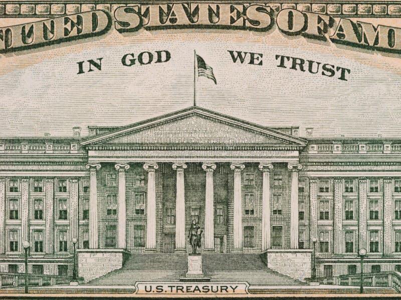 Dipartimento degli Stati Uniti del Ministero del Tesoro dall'inverso di un bil di dieci dollari immagine stock