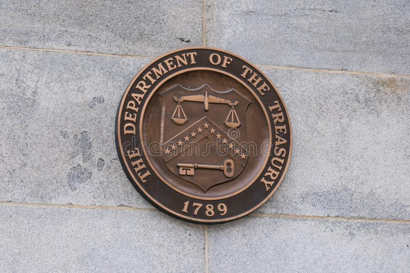 Dipartimento degli Stati Uniti della guarnizione di Ministero del Tesoro fotografia stock