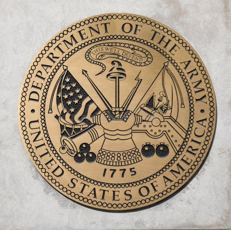 Dipartimento dell'emblema dell'esercito di Stati Uniti fotografia stock