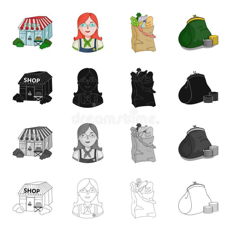 Dipartimento, deposito, merci e l'altra icona di web nello stile del fumetto Soldi, pagamento, acquisto, icone nella raccolta del illustrazione di stock