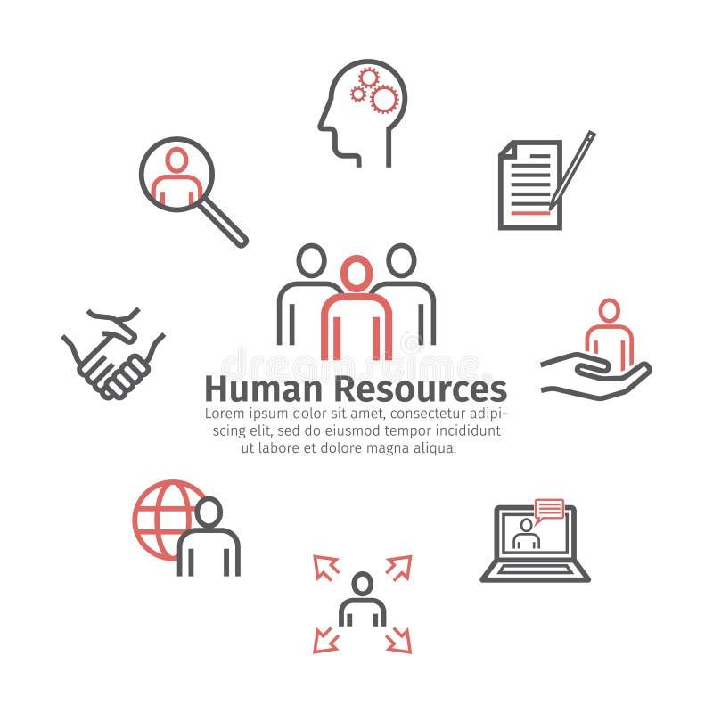 Dipartimento di risorse umane Bandiera rotonda Linea icone Segno di vettore per i grafici di web illustrazione di stock