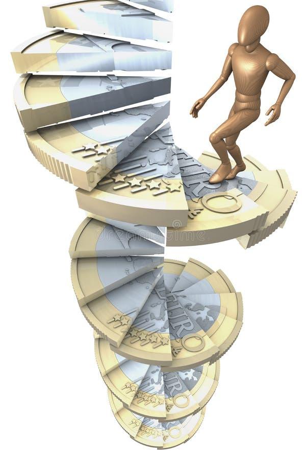 Dipenda le euro scale 3 della moneta illustrazione di stock