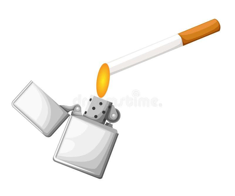 Dipendenza narcotica del pericolo bruciante di concetto della carta della sigaretta e della luce rossa realistica per progettazio royalty illustrazione gratis