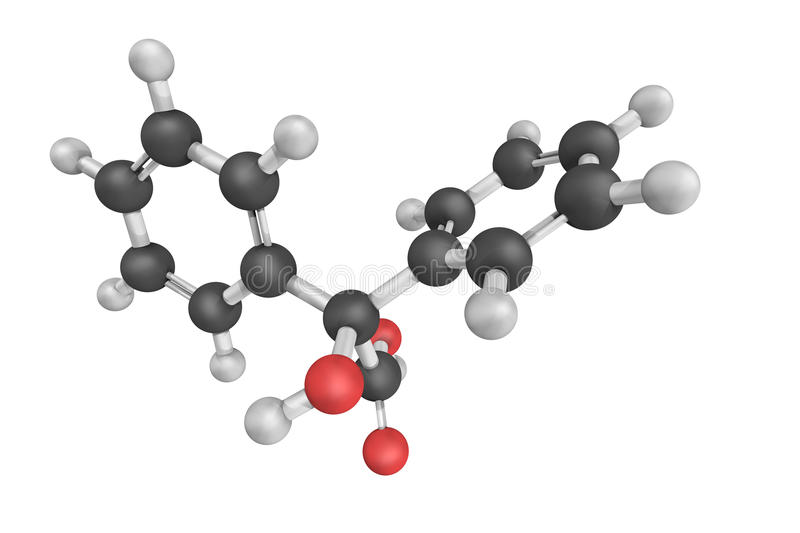 Diphenylglycoliczuur, ook als Benzilic-zuur wordt bekend, witte crys die stock foto