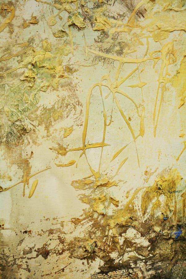 Dipinga i colori dorati d'annata, i colpi della spazzola, fondo organico dell'ipnotico del tessuto fotografie stock