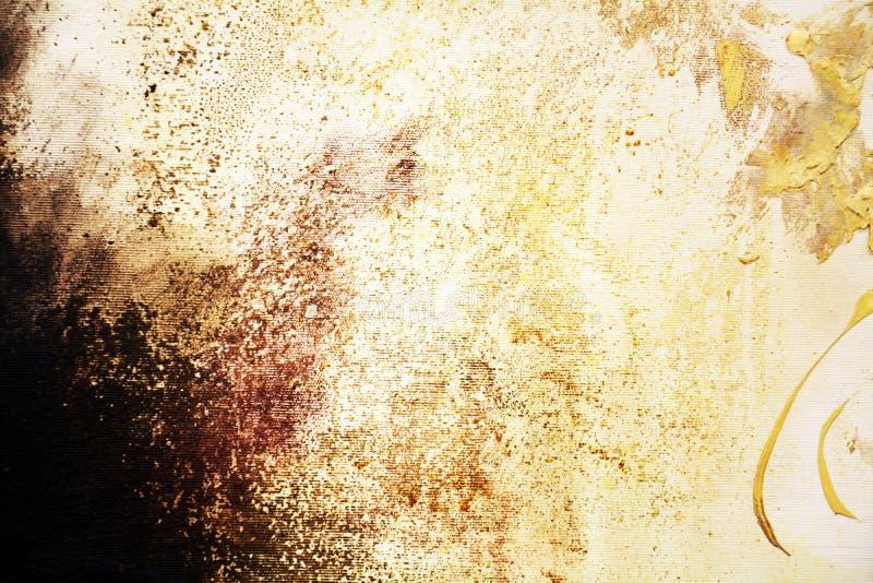 Dipinga i colori dorati di lerciume d'annata, i colpi della spazzola, fondo organico dell'ipnotico del tessuto immagini stock libere da diritti