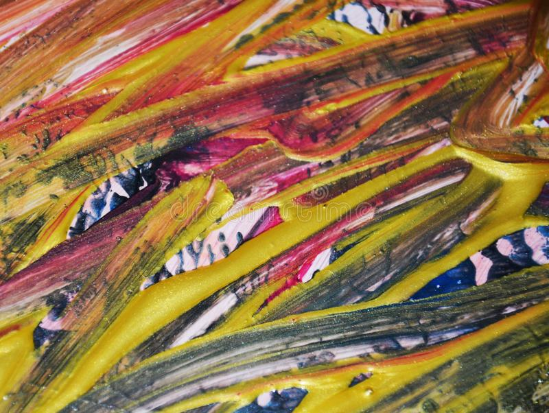 Dipinga il fondo d'annata nelle tonalità arancio blu rosse dorate Fondo astratto dell'acquerello della pittura fotografia stock libera da diritti