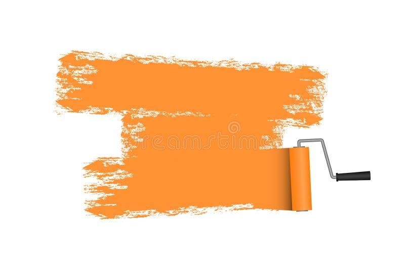 Dipinga il rullo con area dipinta nel colore arancio Spazzola del rullo Vettore illustrazione vettoriale