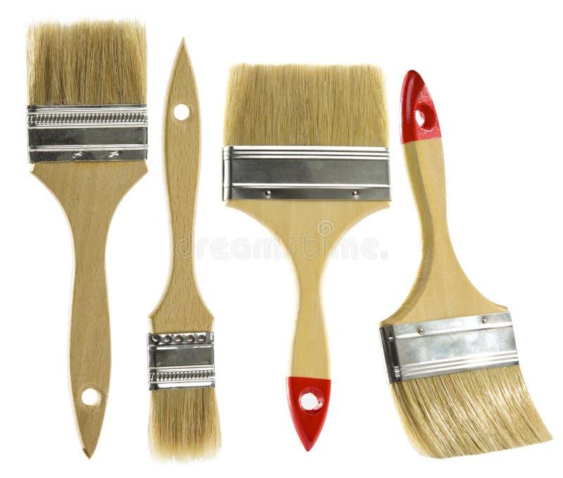Dipinga il set di pennelli fondo isolato e bianco immagine stock libera da diritti