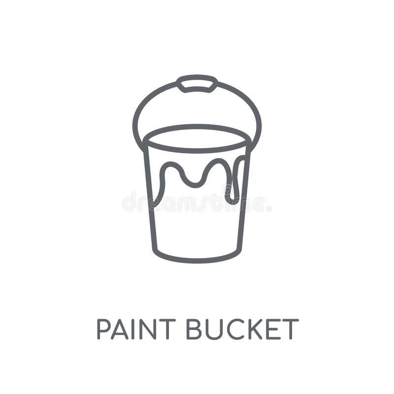 Dipinga l'icona lineare del secchio Conce moderno di logo del secchio della pittura del profilo illustrazione vettoriale
