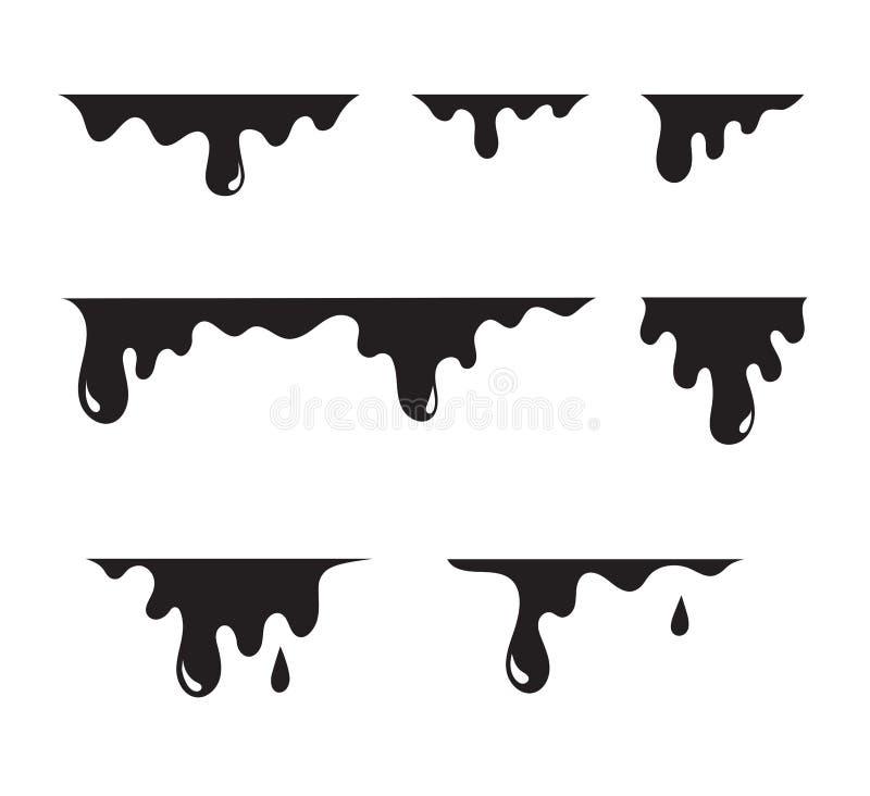 Dipinga l'insieme della sgocciolatura Liquido nero della sgocciolatura per i vetri Dipinga l'estratto di flussi Pittura corrente, illustrazione di stock