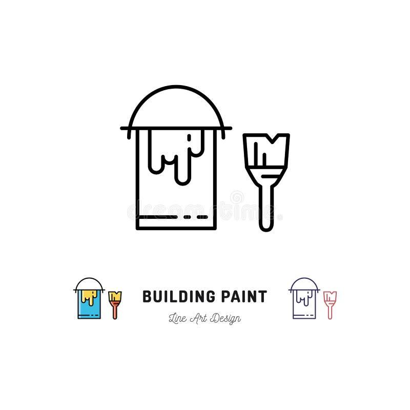Dipinga le icone del profilo del pennello e della latta Ripari gli strumenti della costruzione domestica, icona della pittura del illustrazione vettoriale