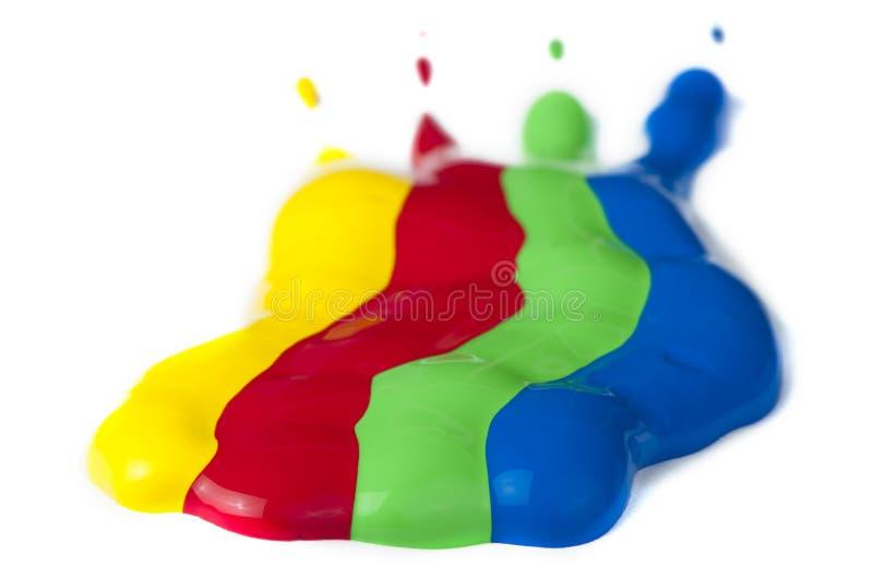 Dipinga rivestito su documento. Colori rossi, verdi, blu e gialli. fotografia stock libera da diritti