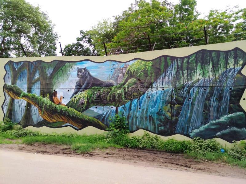 Dipingendo sulla parete da un artista locale illustrazione vettoriale