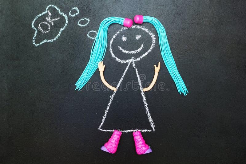 Dipinto con la ragazza del gesso con il pensiero delle trecce royalty illustrazione gratis