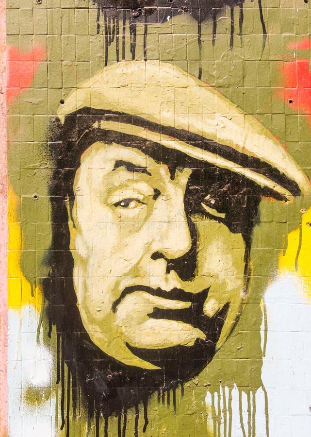 Dipinto nell'omaggio allo scrittore Pablo Neruda, nel centro della t immagine stock libera da diritti
