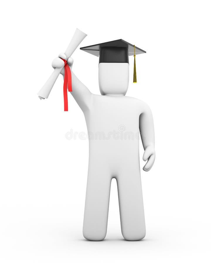 Diplômé avec le diplôme illustration de vecteur