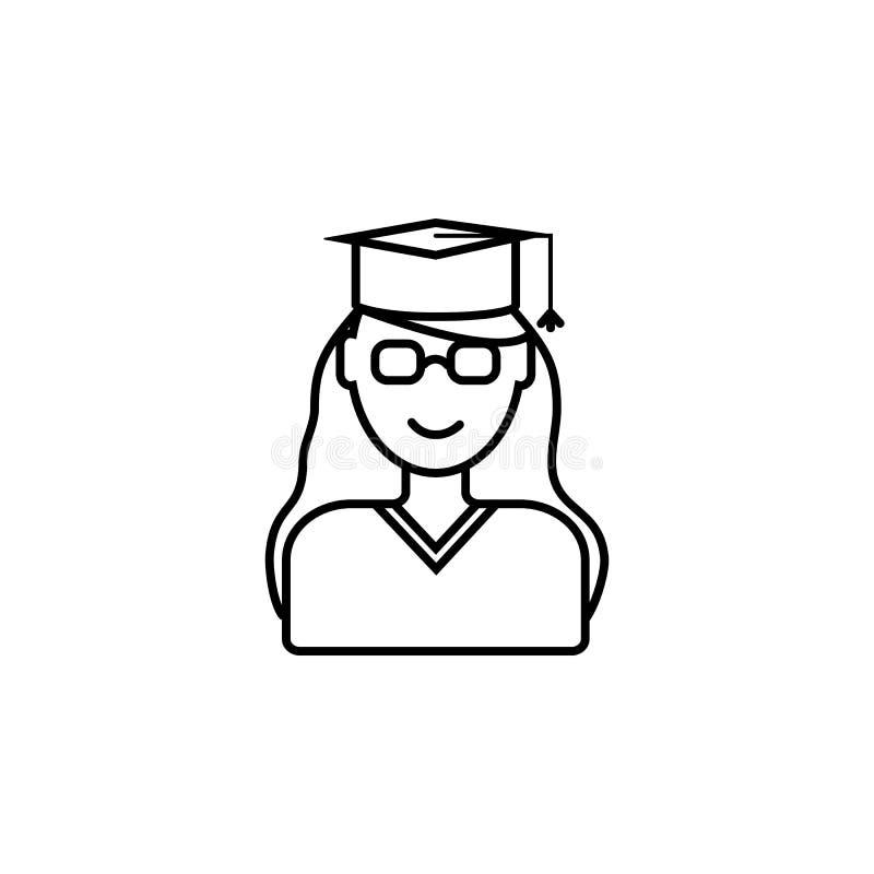 Diplômé d'université Élément d'icône d'éducation pour les apps mobiles de concept et de Web La ligne mince diplômé d'université p illustration libre de droits