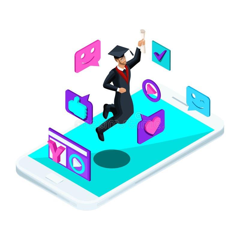 Diplômé d'université sur le smartphone illustration libre de droits