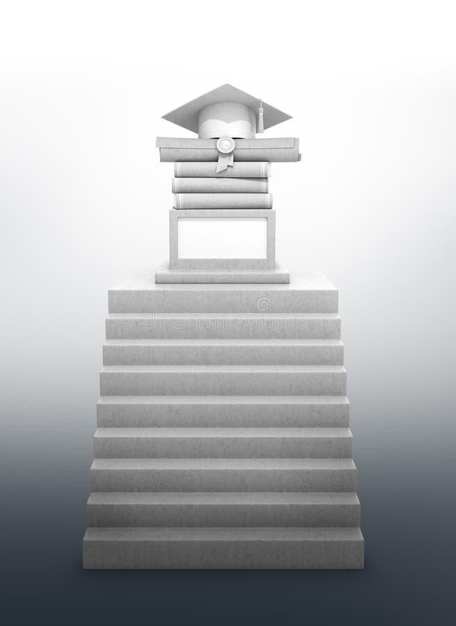 Diplômé de concept, éducation Un escalier menant à un piédestal avec les livres, le diplôme et un chapeau licencié Construction e illustration de vecteur