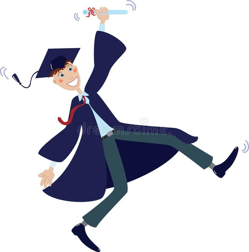 Diplômé heureux dans le capuchon et la robe avec le diplôme illustration libre de droits