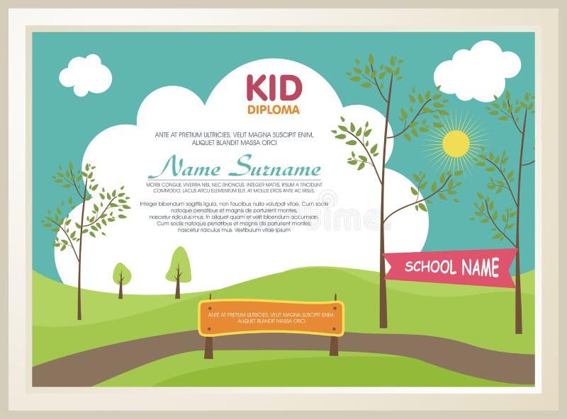 Diplôme adorable d'enfant avec le paysage de nature illustration libre de droits
