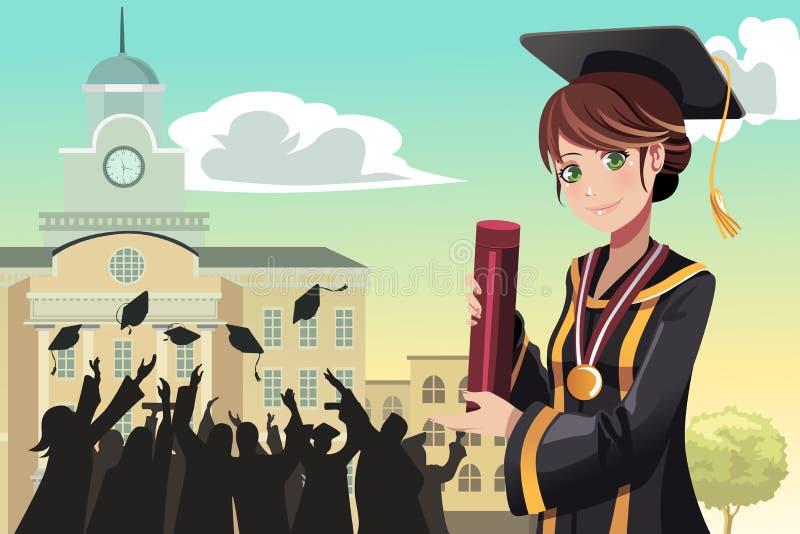 Diplôme de fixation de fille de graduation illustration de vecteur