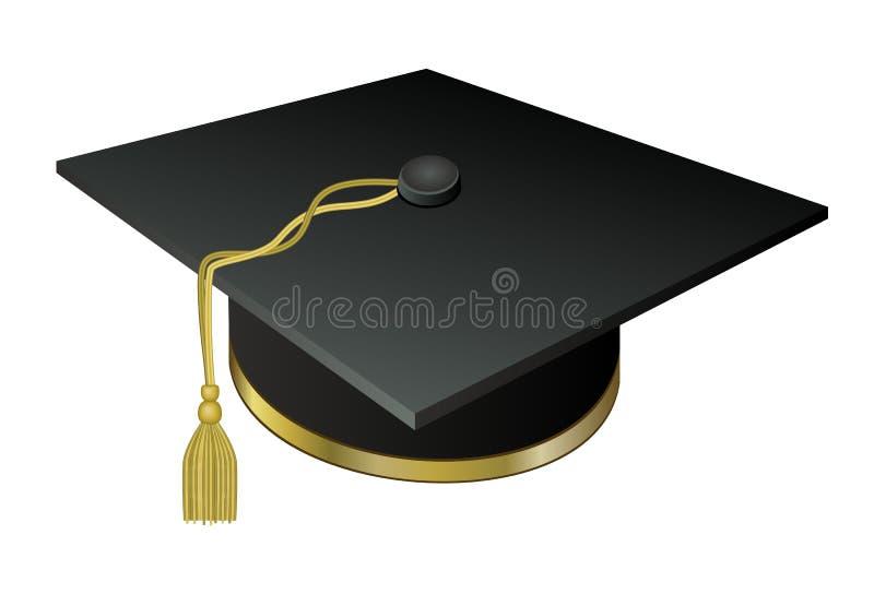 Diplômé d'université de chapeau avec un gland d'or photographie stock