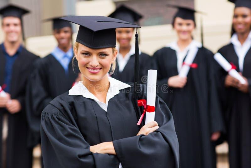 Diplômé d'université féminin photographie stock