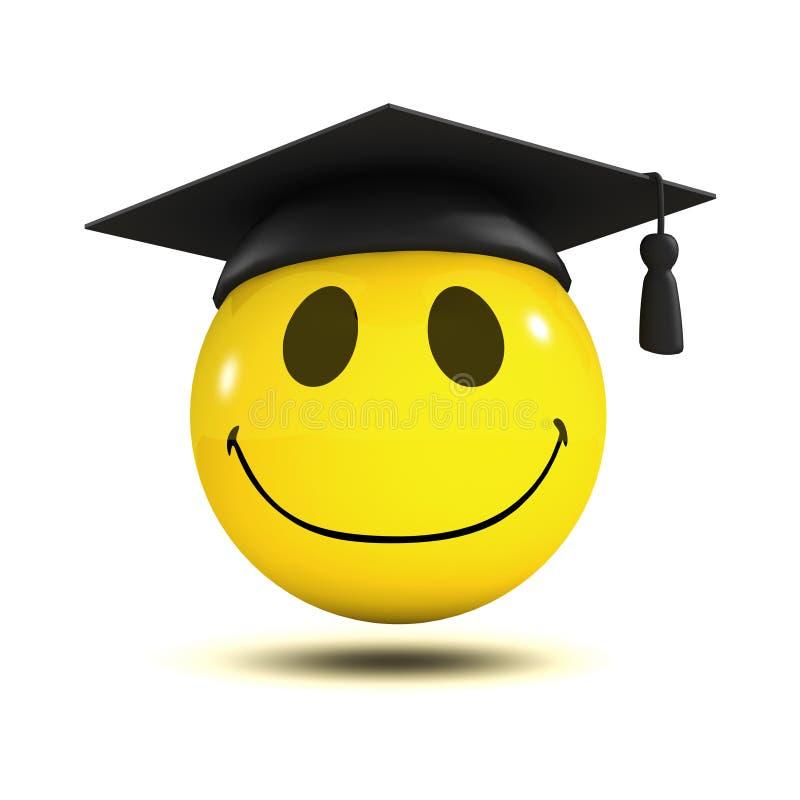 diplômé du smiley 3d illustration stock