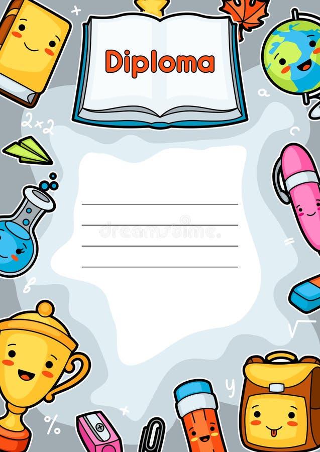 Diplôme d'école de Kawaii avec les approvisionnements mignons d'éducation illustration stock