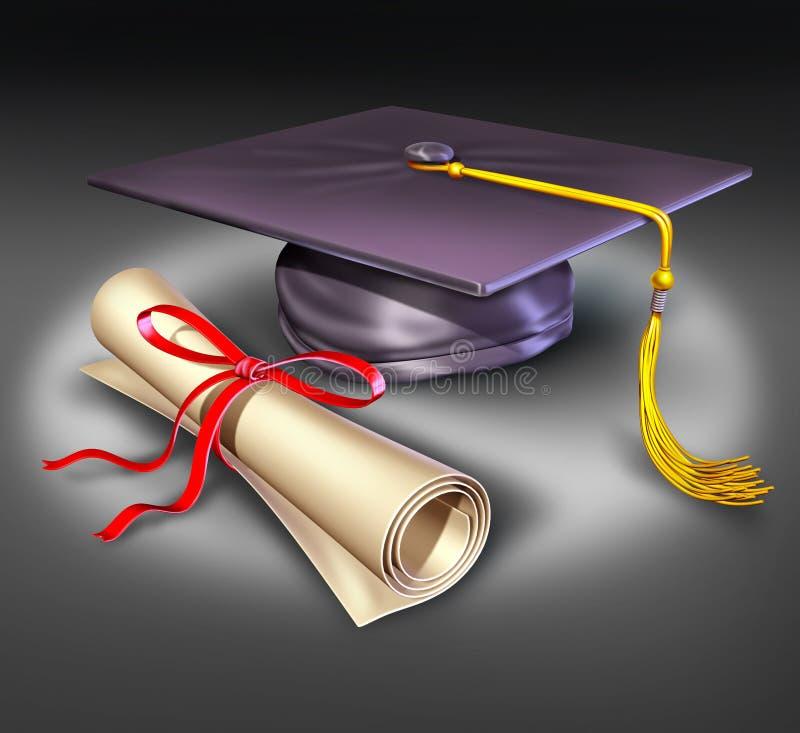 Diplo de panneau de mortier d'éducation d'université de graduation illustration stock