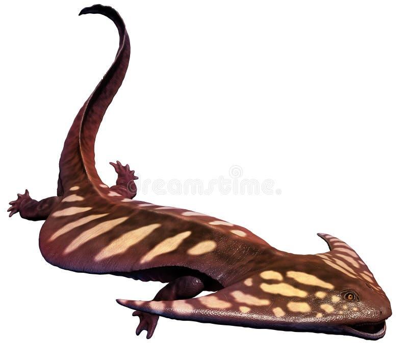 Diplocaulus. Amphibian from the Permian era stock illustration