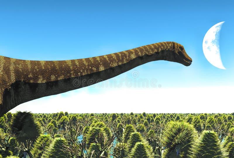 Diplodocus énorme dans le marécage, illustration 3d illustration libre de droits