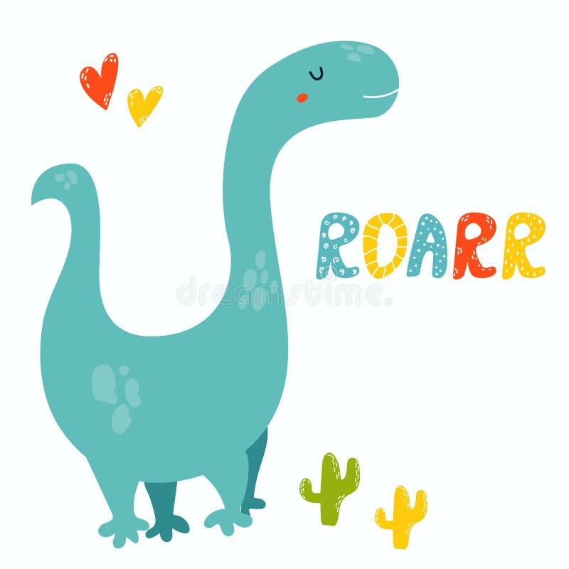 Diplodocus bonito Dino Cartão de Roarr ilustração stock