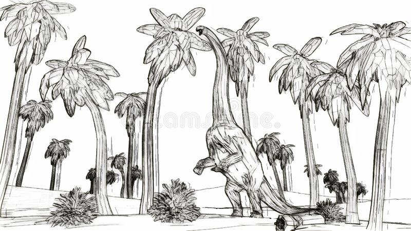 Diplodocus die de stijl 3d illustratie eten van de palmbladenschets vector illustratie