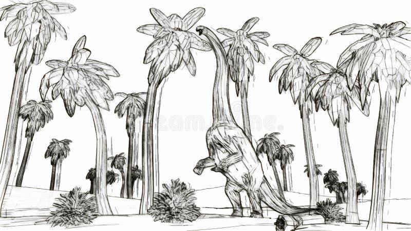 Diplodocus eating palm leaves sketch style 3d illustration vector illustration