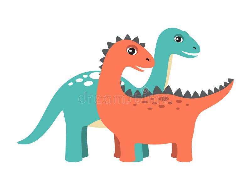 Diplodocus en Dinosaurus Vastgestelde Vectorillustratie stock illustratie
