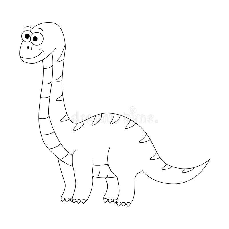 Diplodocus engraçado incolor dos desenhos animados Ilustração do vetor Colori ilustração royalty free