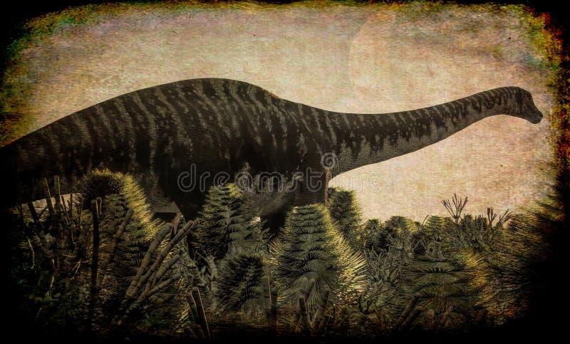 Diplodocus enorme en el humedal, ejemplo 3d stock de ilustración