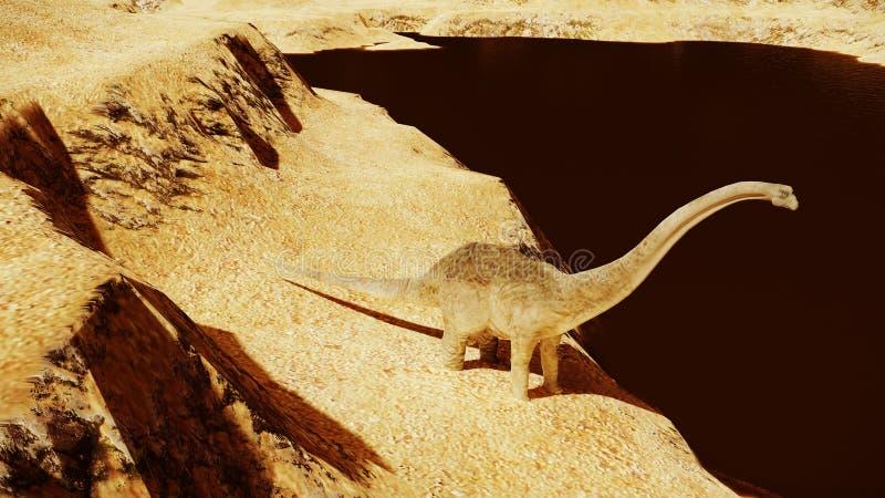 Diplodocus enorme en tierra estéril ilustración del vector