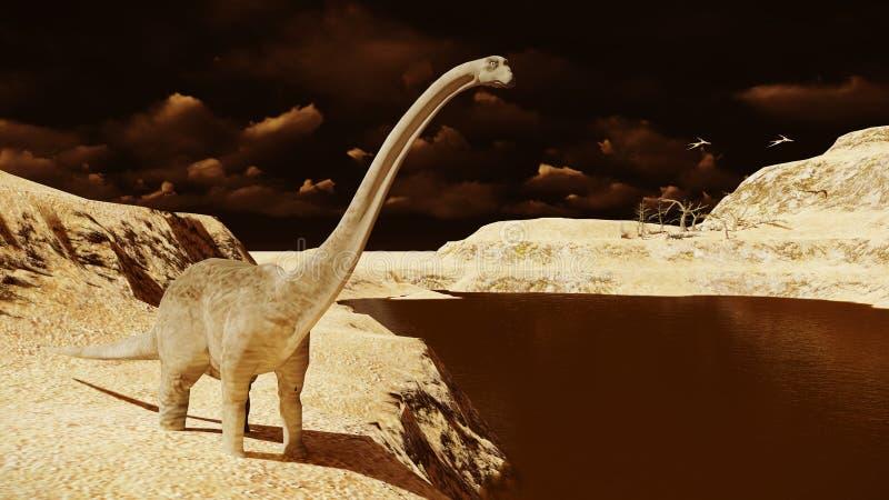 Diplodocus enorme en tierra estéril libre illustration
