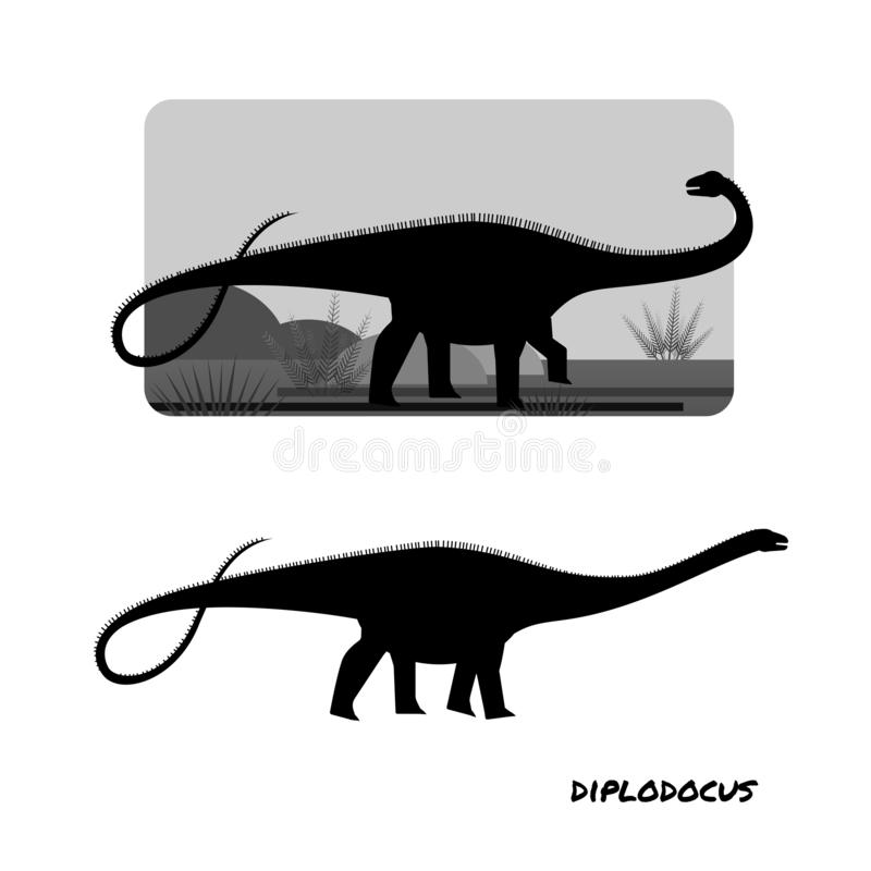 Diplodocus giant plant eaters. Diplodocus sauropods giant plant eaters lagest land animals vector illustration
